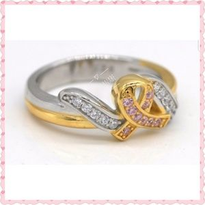 pink cancer breast rings stackable ribbon pin hope be awareness gone expressions pinterest ring sterling silver